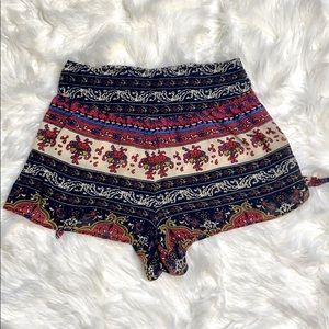 Band of Gypsies Boho Pattern Side Tie Shorts